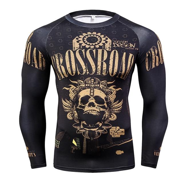 Mode Panjang Lengan pria T-shirt 3D Cetakan Kulit Ketat Kompresi Shirts untuk Pria MMA Rashguard Pria Body Building Top kebugaran