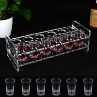 12PCS 35ml Shot Glass & 12 Hole Clear Acrylic Holder Rack Serving Tray Set High Quality Plastic