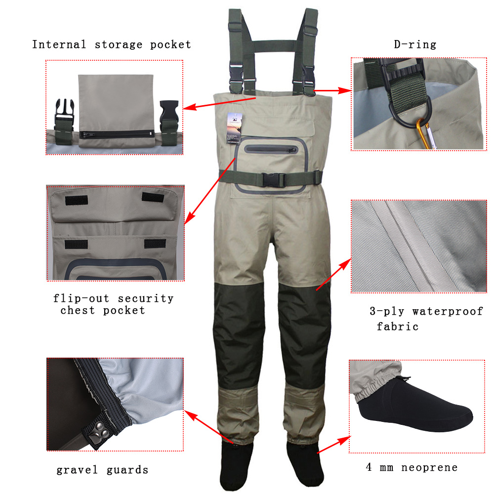 Breathable Hunting Fishing Chest Waders Waterproof and Lightweight Fly Fishing Waders with stocking foot