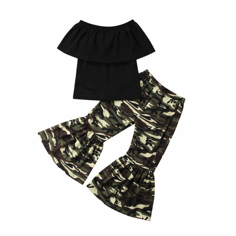 2018 Brand New Toddler Infant Kids Baby Girl Off-shoulder Tops+Camo Loose Flared Pants Flare Bell Bottoms Clothes Sunsuit 8M-4T