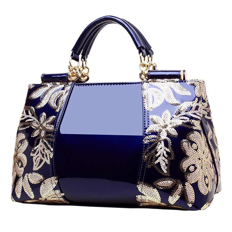 3b763d74c8fe ... Знаменитости Синий лакированная кожа сумки для женщин сумки на плечо  2018 Новая мода Европа и Америка ...