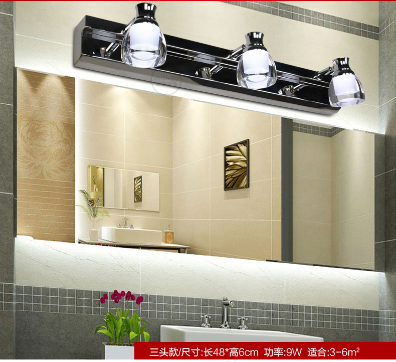 ФОТО Led mirror light bathroom cosmetic lamp sanitary stainless steel wall lamp modern brief lamps 701