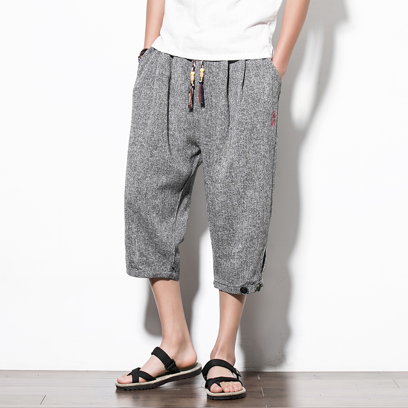 Summer Casual Harem Pants Men Chinese Style Calf-length Trousers Men Vintage Embroidery Streetwear Mens Joggers Pants