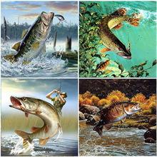Sale Diamond Embroidery Discus Fish Picture Mosaic 5D Wall Painting Animals Full Square Drill Kits Home Decorations Cross Stitch