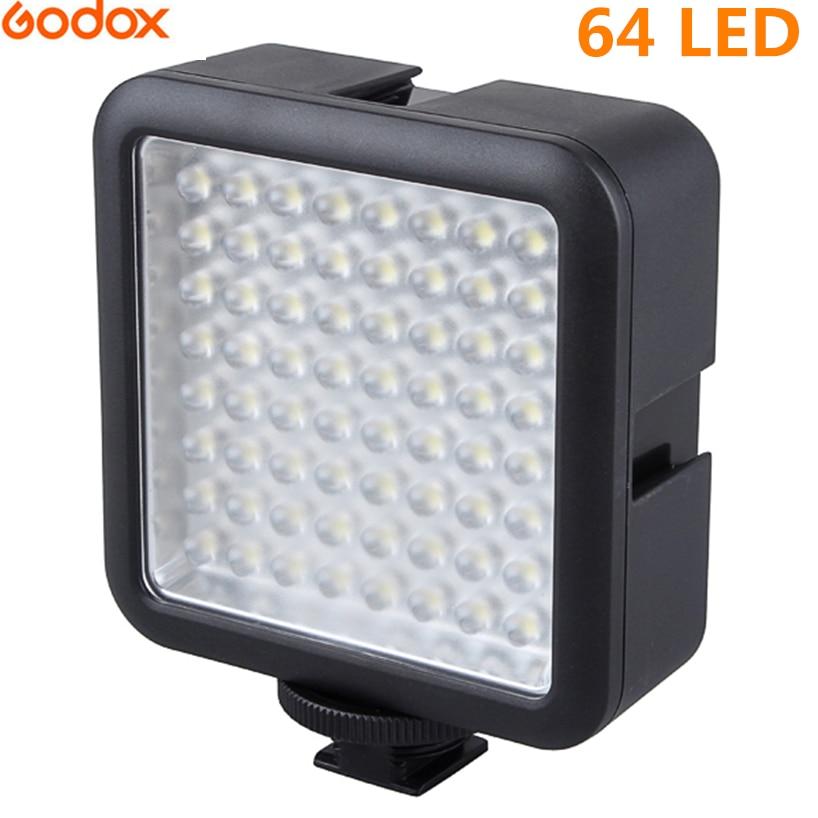 Godox 64 Luz de vídeo LED para cámara DSLR videocámara mini DVR como luz de relleno para entrevista de noticias de boda macrofotografía