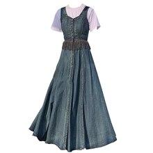 Джинсовое платье весеннее женское винтажное платье с кисточками и строчкой с высокой талией тонкое джинсовое платье трапециевидной формы