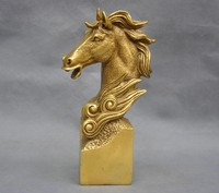 8'' Elaborate China Zodiac Animal Horse Head Brass Bust Statue
