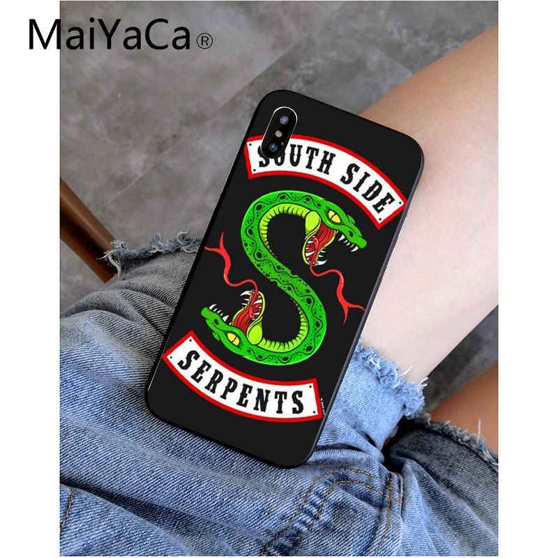 MaiYaCa Riverdale South Side Serpents Black Soft Silicone Phone Cover for iPhone 8 7 6 6S Plus 5 5S SE XR X XS MAX Coque Shell