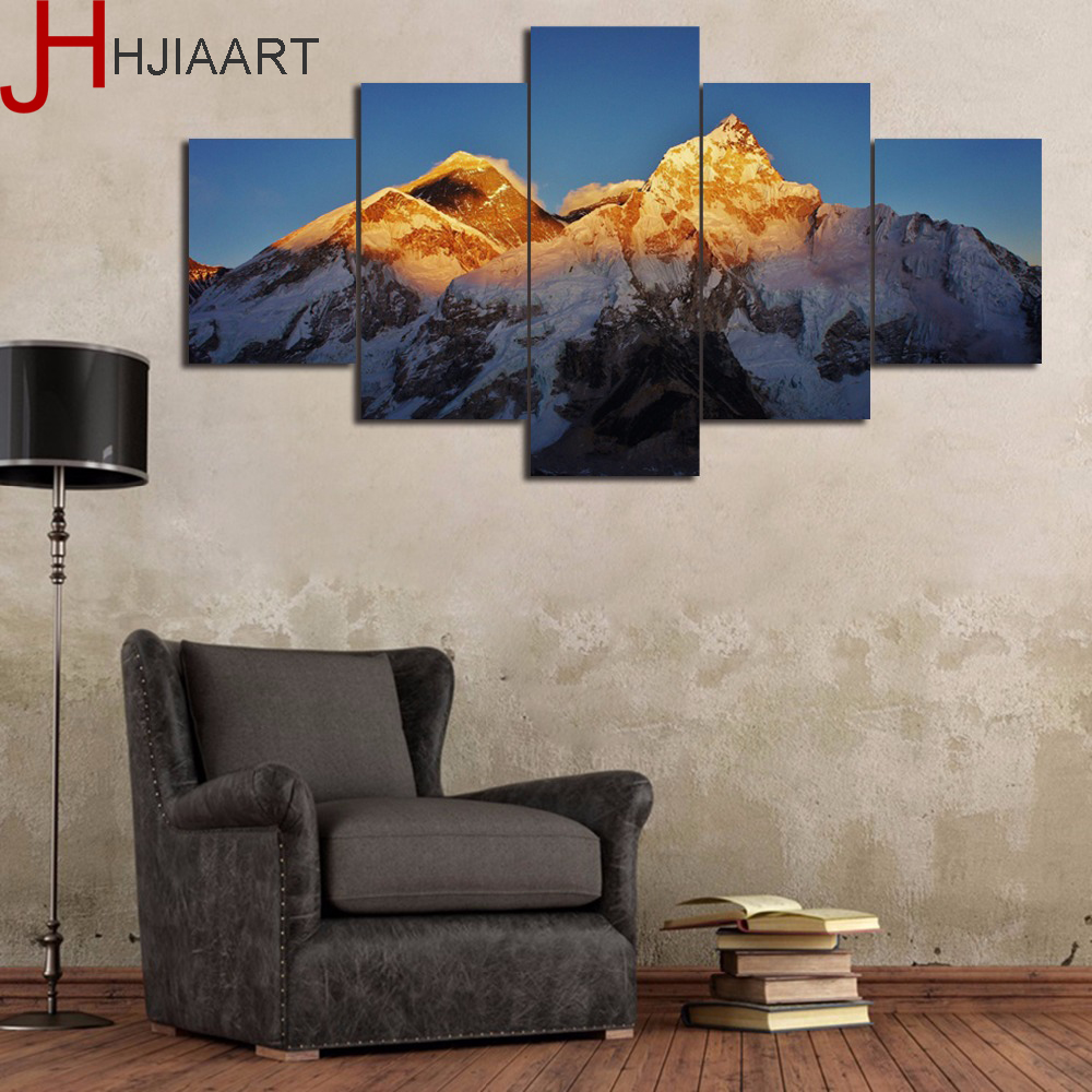 5 Pieces Canvas Painting Snow Mountain Painting Home Decor