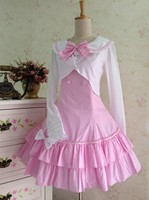 Women Pink Lolita Dress Girls Lovely Party Dresses Halloween Party Cospaly Costumes