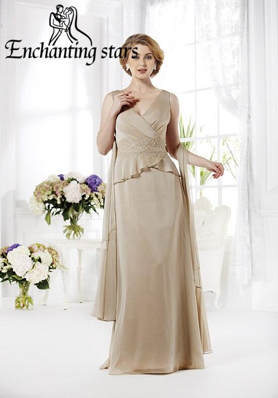 2017 Lace Appliques Beach Mother Bride Dresses Straps Deep V-Neck Plus Size Women Chiffon Long Formal Evening Prom Gowns - Molibridal_ Store store
