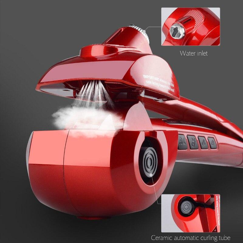 CkeyiN profesional pelo automático Vapor Eléctrica rizador de pelo de cerámica Curling Iron varita Auto vapor salón herramientas 00