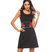 Women Casual Summer Sleeveless Loose Shift Dress Vintage Embroidery Black Mini Party Dress ET031