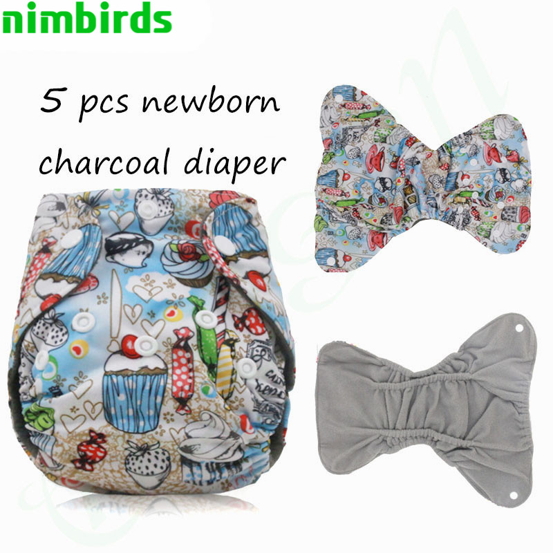 Newborn Washable Cloth Diapers Cover Wrap Cartoon Print Baby Nappy Changing Reusable Baby Cloth Diapers Couches Lavables