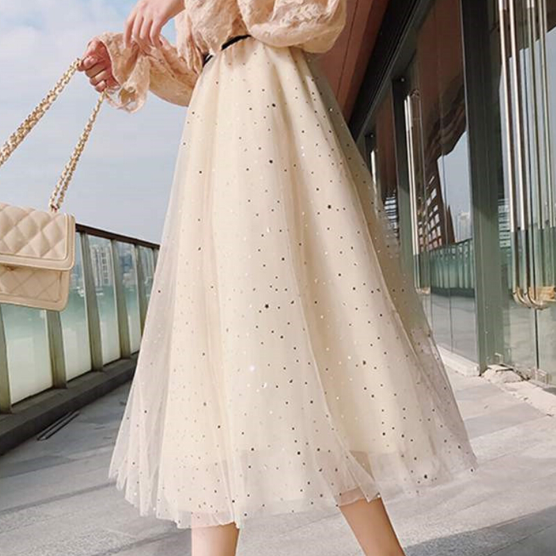 Layers Tiered Tulle Skirt Women Summer Holiday High Waist Long Maxi Skirt Female Pink White School Skirt Sun Ladies
