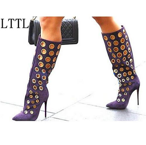 Fashion Spring Women Knee High Boots Cut-outs Dot Suede Boots Pointed Toe High Heels Gold Holes Boots Black Purple Shoes Women