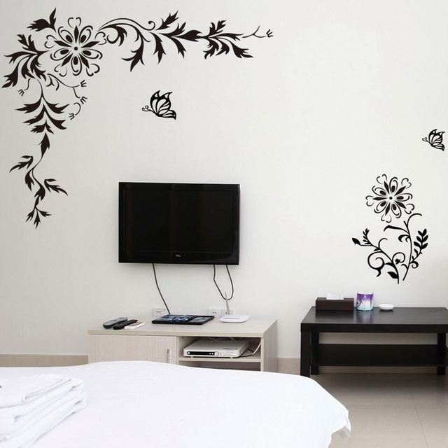 Butterfly Wall Stickers Wall Stickers Wall Decals Diagonal Flower Wisteria  With Butterfly Pattern For Home Back