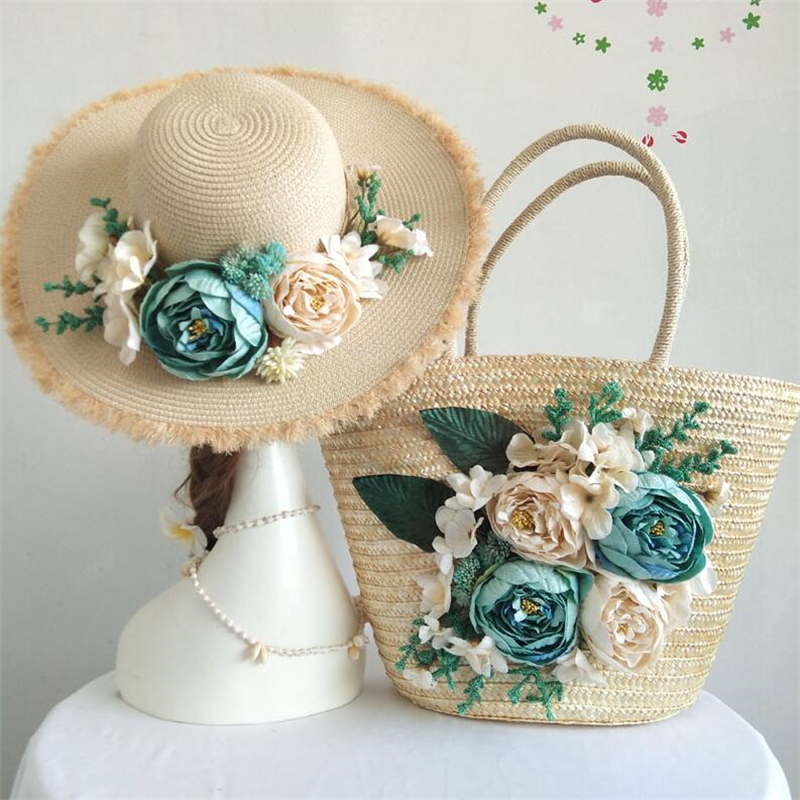 New Handmade Flower bag 2pcs/set Woven Handbags For Women Fashion unique Design Shoulder Bag Boho Female Straw Beach Bag