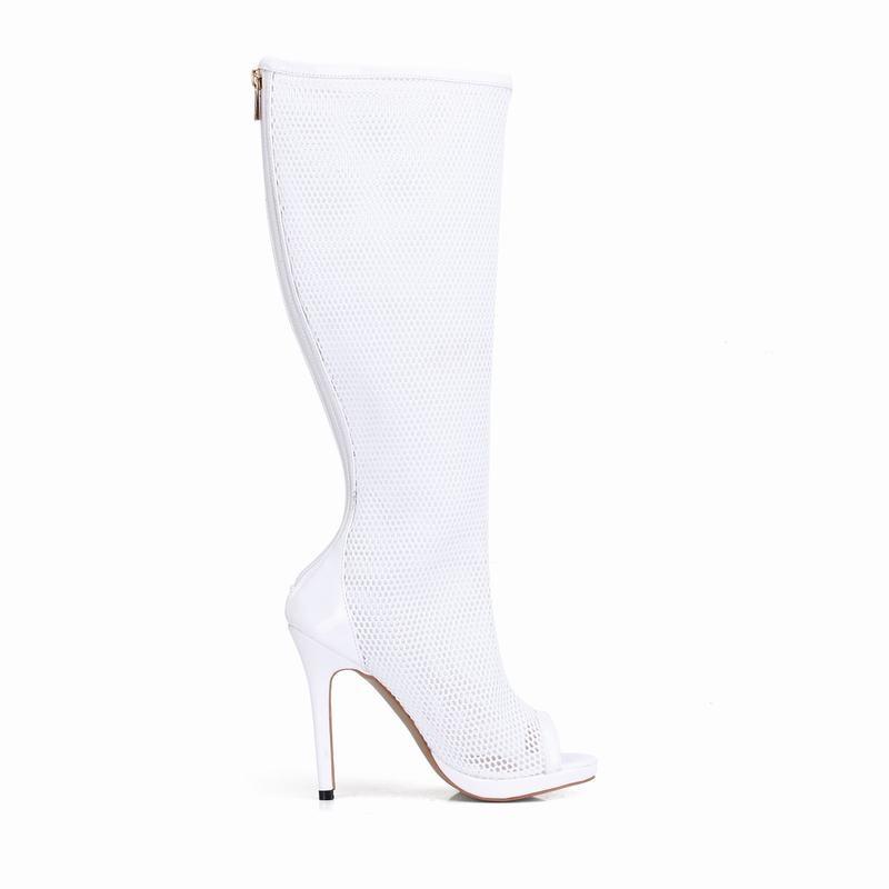 Botas Chaussures Respirant Zapatos Partie Genou Zapatillas Talons forme Mujer Flower white Femmes Haute Dames Bottes Toe Peep blue Cyabmoz Plate Femme wXkNPZ8n0O