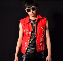 New fashion 2015 men casual red PU leather vest coat men's sleeveless jacket outwear singer dj stage wear performance costumes