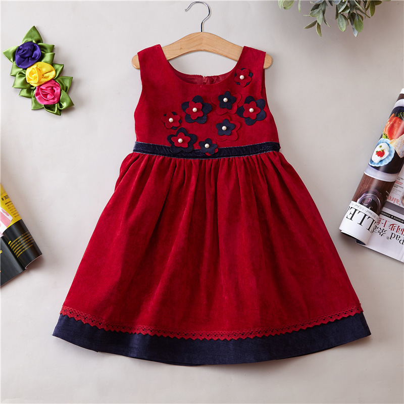 New Pattern Girl Princess dress made of Corduroy girls flower dress kids Spring Autumn Winter dress children clothing saul s fall