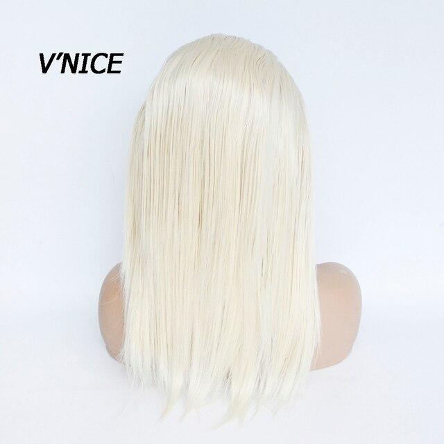 VNICE-perruque Lace Front Wig synthétique sans colle | Perruque Blonde platine avec Baby Hair, perruque Bob courte en Fiber résistante à la chaleur pour femmes blanches
