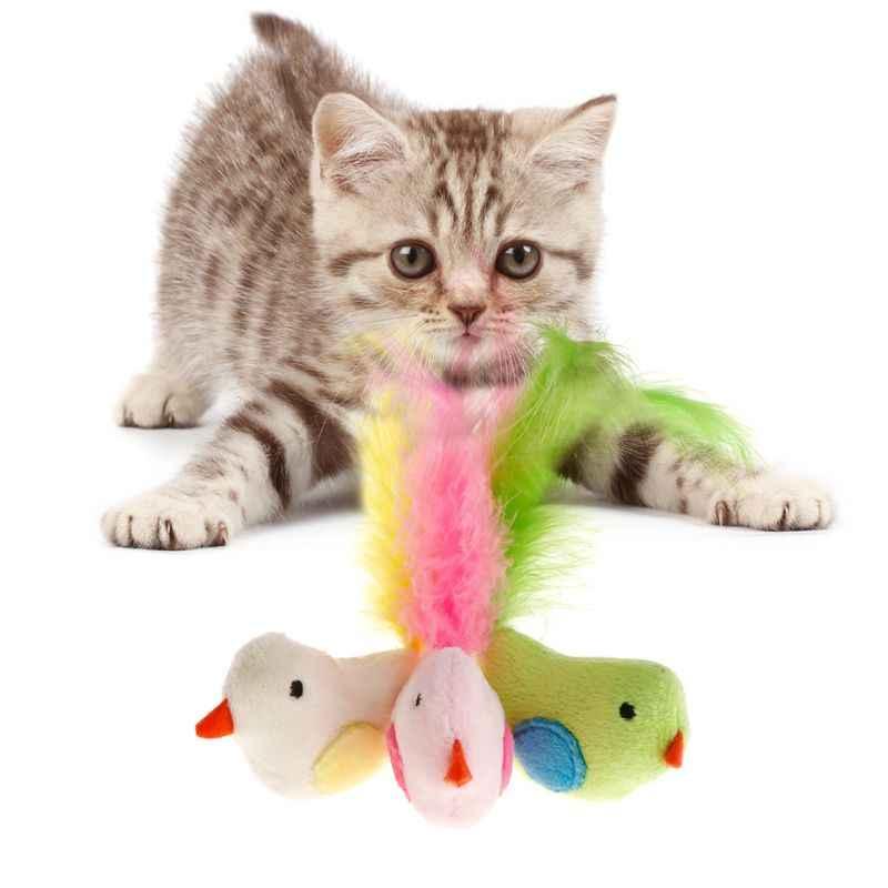 Игрушки для кошек ложное птичье перо искусственная игрушка интерактивная игра котенок Catnip Прорезыватель товары для животных красочные Dec14-A