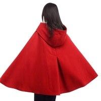 Women Cloak Coat Ladies Vintage Mid Length Medieval Mantle with Gloves Winter Hooded Cape