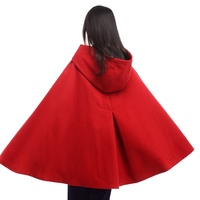 Women Cloak Coat Ladies Vintage Mid Length Medieval Mantle with Gloves Winter Hooded Cape