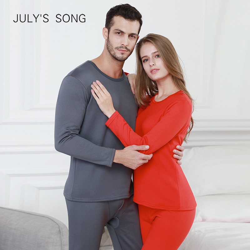 JULY'S SONG Winter Velvet Thick Thermal Underwear For Men Woman Warm Layered Clothing Pajamas Set Thermal Set Male Long Hot-Dry