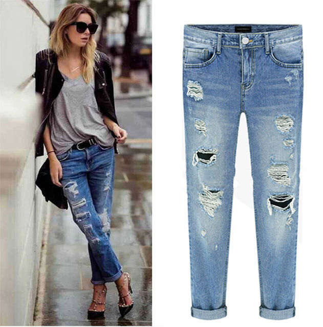 MACHINE JEANS RIPPED DISTRESSED DESTROYED BOYFRIEND CROPPED WOMEN WASHED DENIM