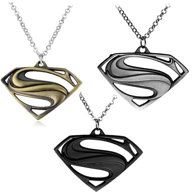 New Superman Necklace Superhero Superman Logo Black Silver Metal
