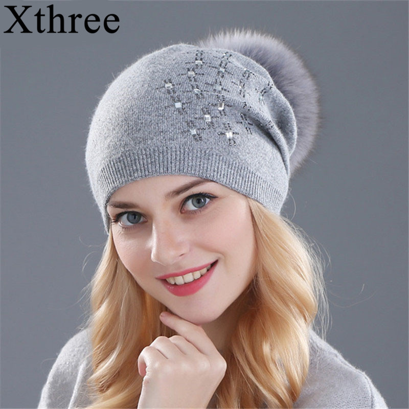 Xthree Women's Winter Hat Rabbit Fur Wool Knitted Hat Shining Rhinestone The Female Of The Mink Hats For Women Beanies