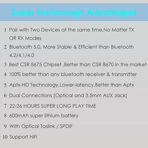 Image 5 - CSR8675 Bluetooth Transmitter 5.0 APTX HD Adapter 3.5mm/SPDIF/Digital Optical Toslink for Car Speaker, Bluetooth Audio Receiver