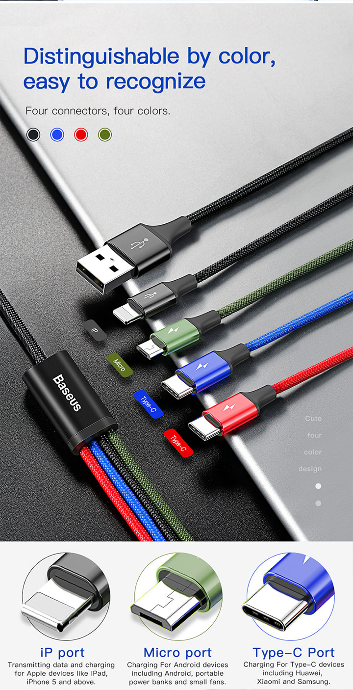 Baseus Fast 4 in 1 Rapid Series Charging Cable