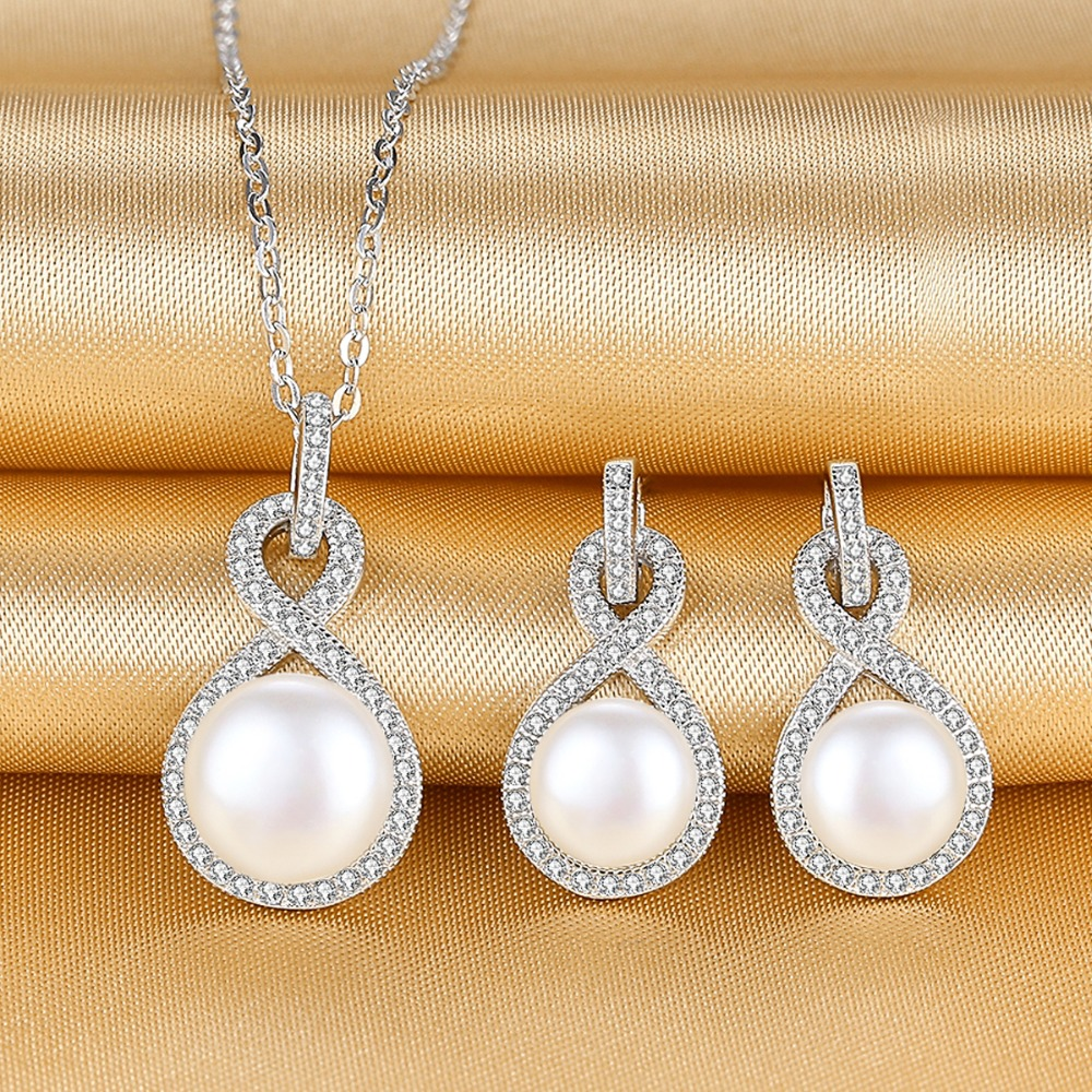 Bella Fashion 925 Sterling Silver Infinity Bridal Necklace Earrings Set Cubic Zircon Freshwater Cultured Pearl Jewelry Set Party bella fashion 925 sterling silver lucky horseshoe bridal necklace cubic zircon pendant chain necklace for wedding party jewelry
