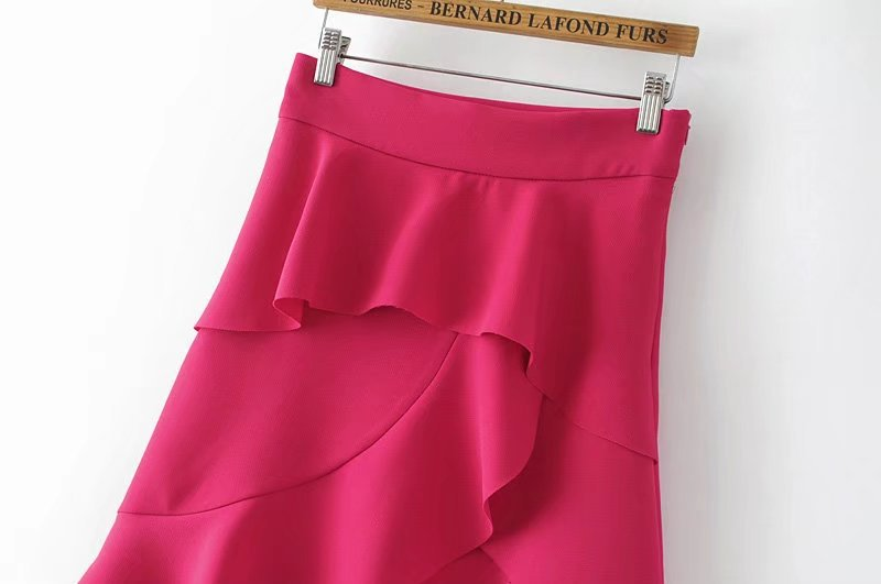 HTB1RXZaQFXXXXb8XpXXq6xXFXXXE - FREE SHIPPING women summer ruffles skirt rose red irregular skirt JKP270