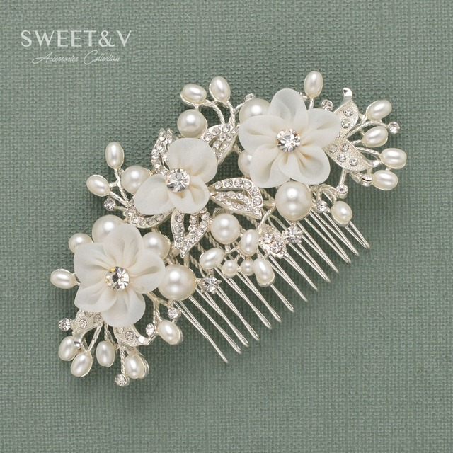 wedding hair accessories pearl hair combs flower women hair jewelry crystal side combs clips pins