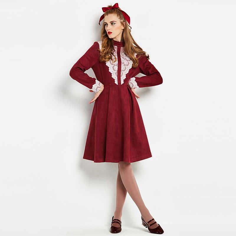 Sisjuly Vintage 60s Dresses Long Sleeve Turtleneck Lace Patchwork Short Casual A Line Spring Elegant Fashion Female Dresses