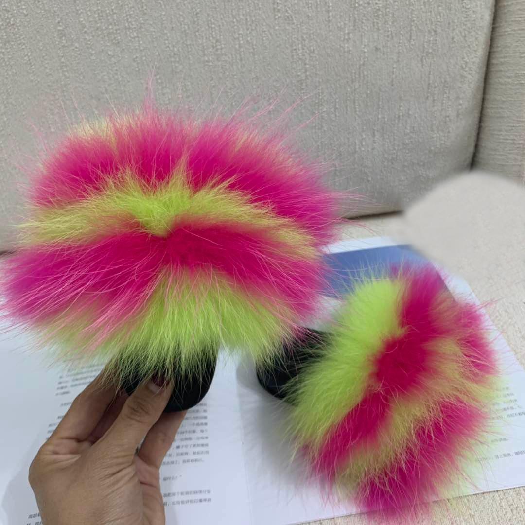 2020 Baby Fur Slides Fur Sliders Real Fox Fur Slides Slippers Furry Slippers Toddler Soft Children Fox Fur Slippers Kids Sandal