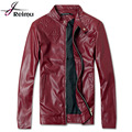2016 Brand Men PU Leather Jacket Black White Red Leather Jacket Mens Slim Fit Motorcycle Leather Jacket Coat For Men Hot Sale