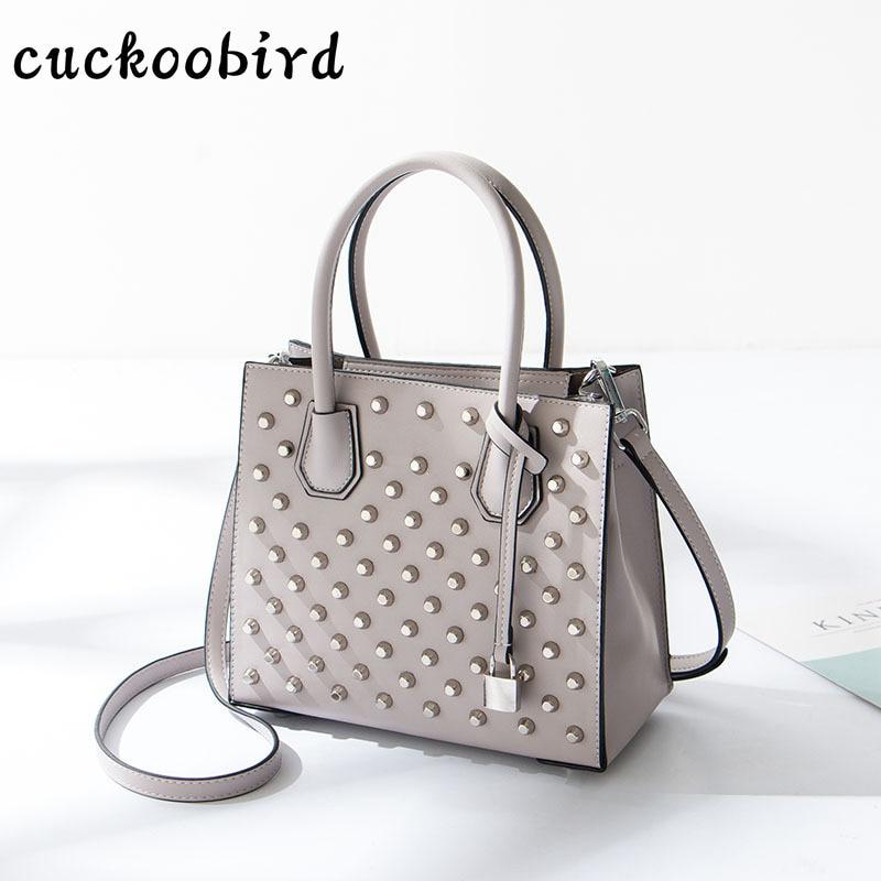 Твердые заклепки Для женщин сумка Для женщин кожа Сумки модная женская сумка для девочек ранцы Топ-ручка вечерние сумки