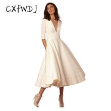 CXFWDJ 2017 New Vintage Princess Dress Lady Party Wedding Formal Wear Sexy Deep V-Neck Patchwork Dress Plus Size Vestido
