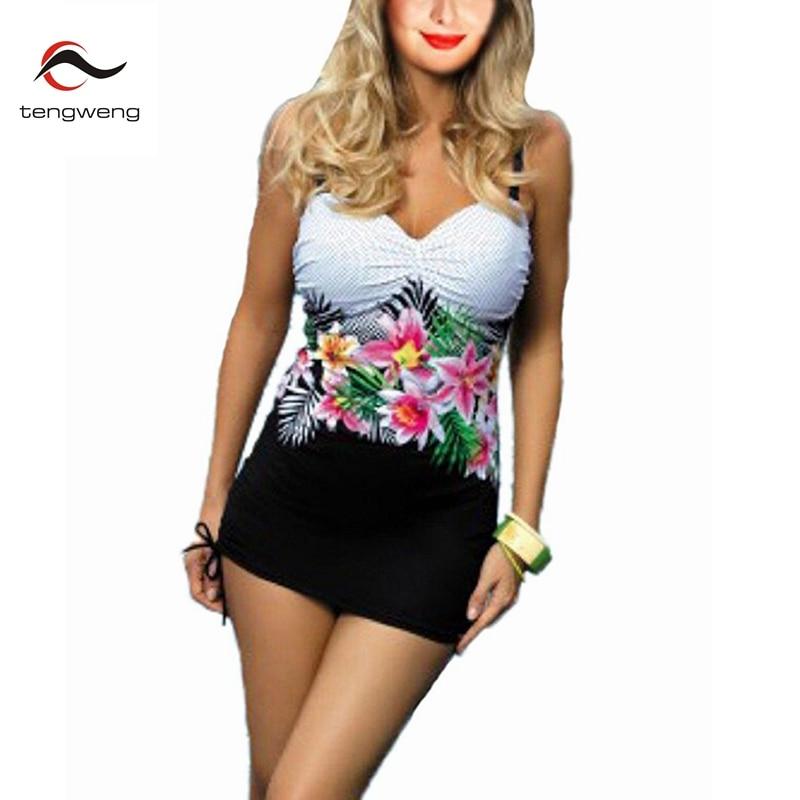 2017 Women Sexy Plus Size Swimdress Floral Print 2 pcs Tankini Swimwear Push Up Swimsuit BathingSuit Shorts 5XL Plus Size Bikini