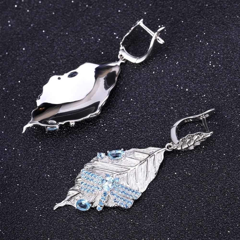 GEM'S בלט 1.57Ct טבעי שוויצרי טופז הכחולה עגילי 925 סטרלינג כסף בעבודת יד ארוך עלים זרוק עגילים לנשים Bijoux