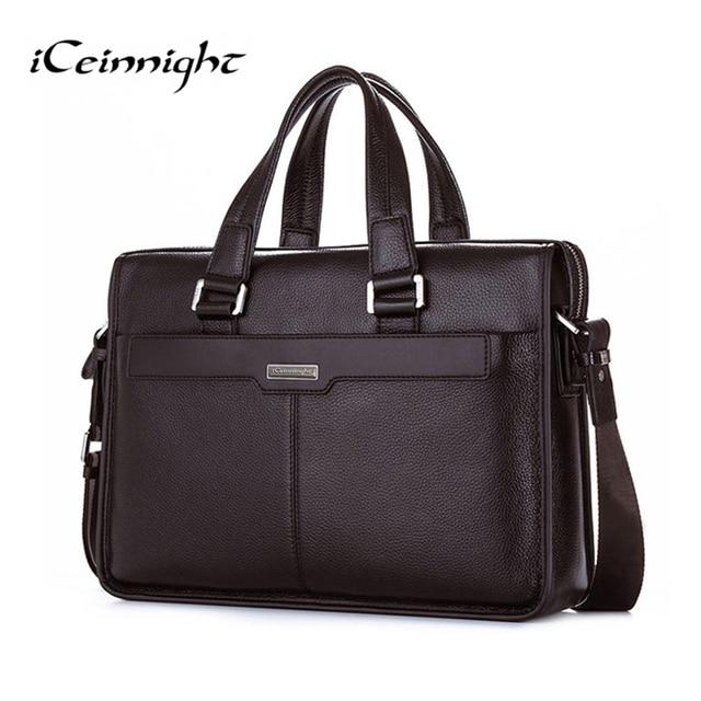 iCeinnight New Man Handbag Genuine Leather Business Messenger Bag Men Computer Shoulder Bag delicate luxurious maleta briefcase