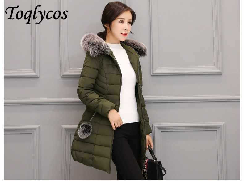 Women's cotton-padded jacket in the long slim thickened winter cotton-padded jacket collar coat 238