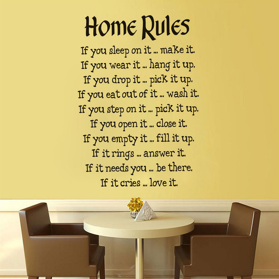 Simple Design House Rules Wall Stickers For Living Room Wall Decor ...