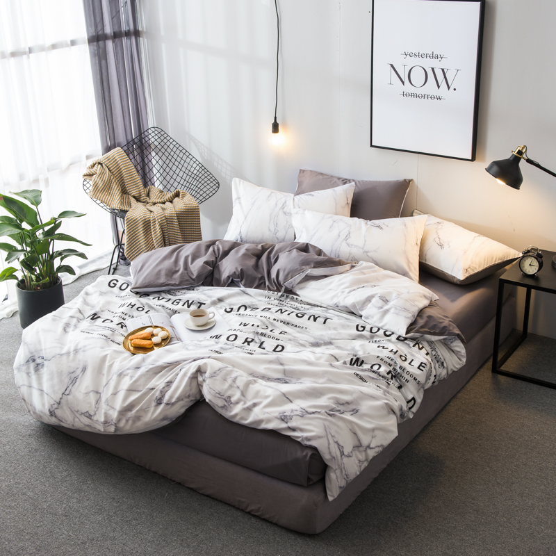 Ins Marble Duvet Cover Set Nature Granite Pattern Cloudy Spotted Trace Effects Marble Artistic Decorative 4 Piece Bedding Set