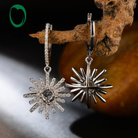 Hot Sale Free shipping Round 4mm 14k White Gold Natural Diamond Semi Mount Earring Snow Shape